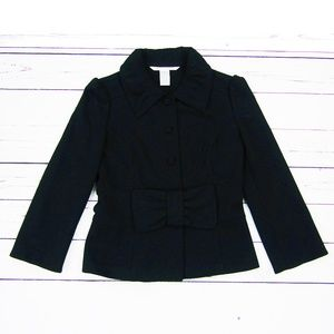 Diane Von Furstenberg Black Wool Bow Blazer 6